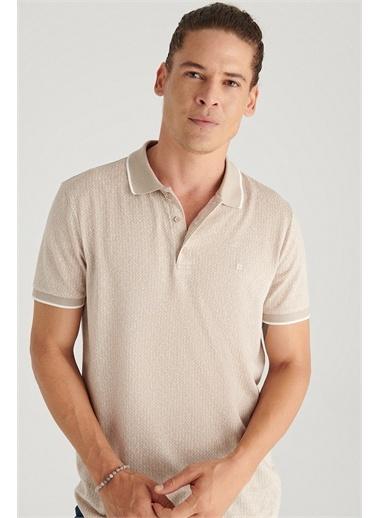 Avva A11Y1201 Polo Yaka Jakarlı Slim Fit T-Shirt A11Y1201 Bej